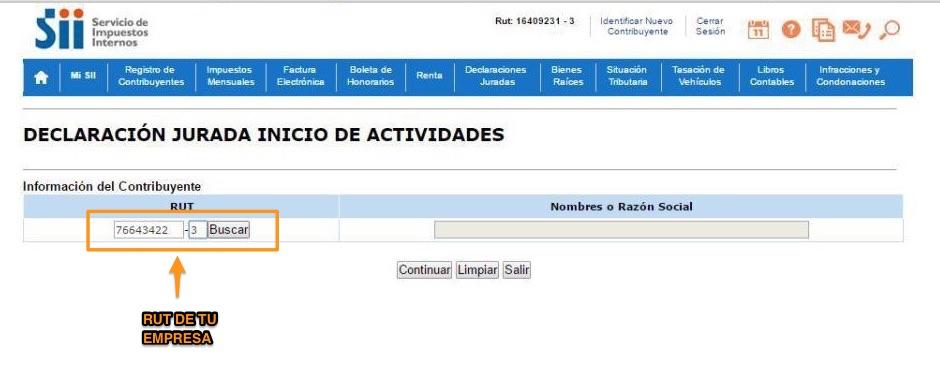 Inicio de Actividades Online en SII.CL Paso 3