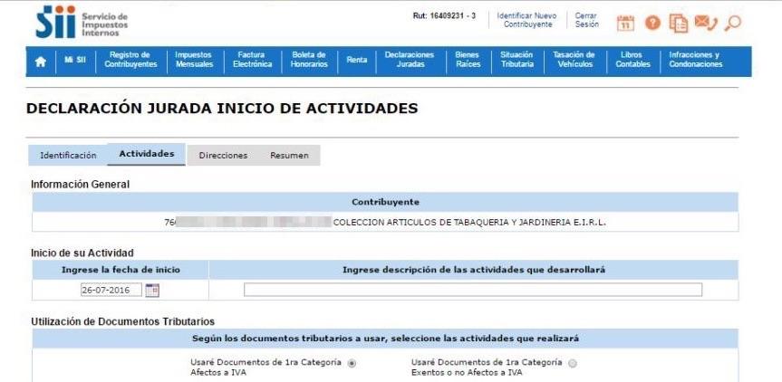 Inicio de Actividades Online en SII.CL Paso 5