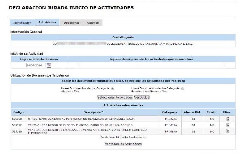 Inicio de Actividades Online en SII.CL Paso 6b