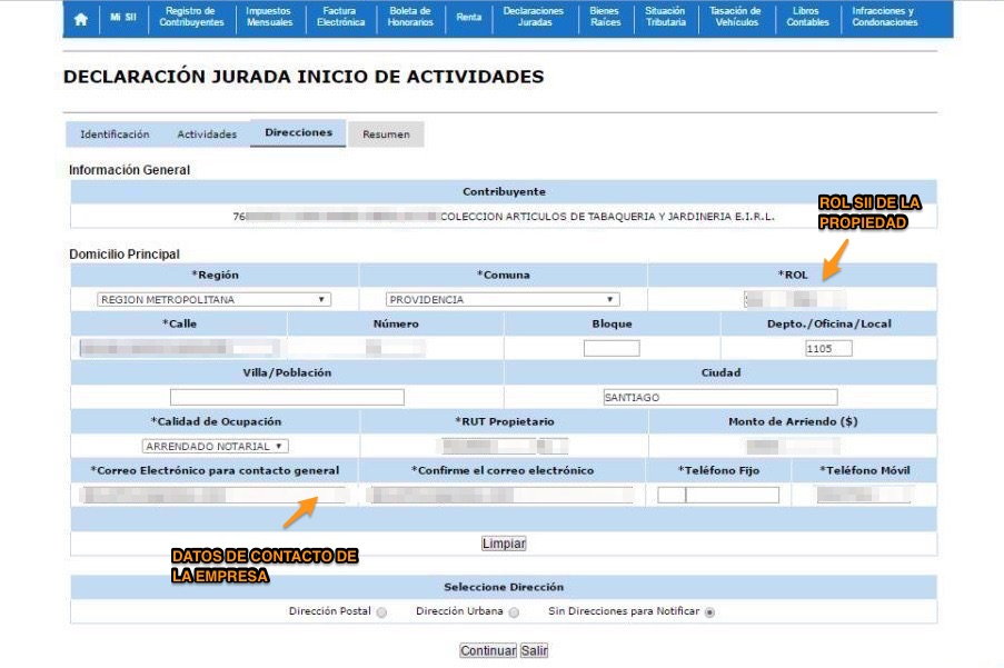 Inicio de Actividades Online en SII.CL Paso 7