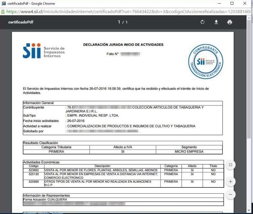 Inicio de Actividades Online en SII.CL Paso 9