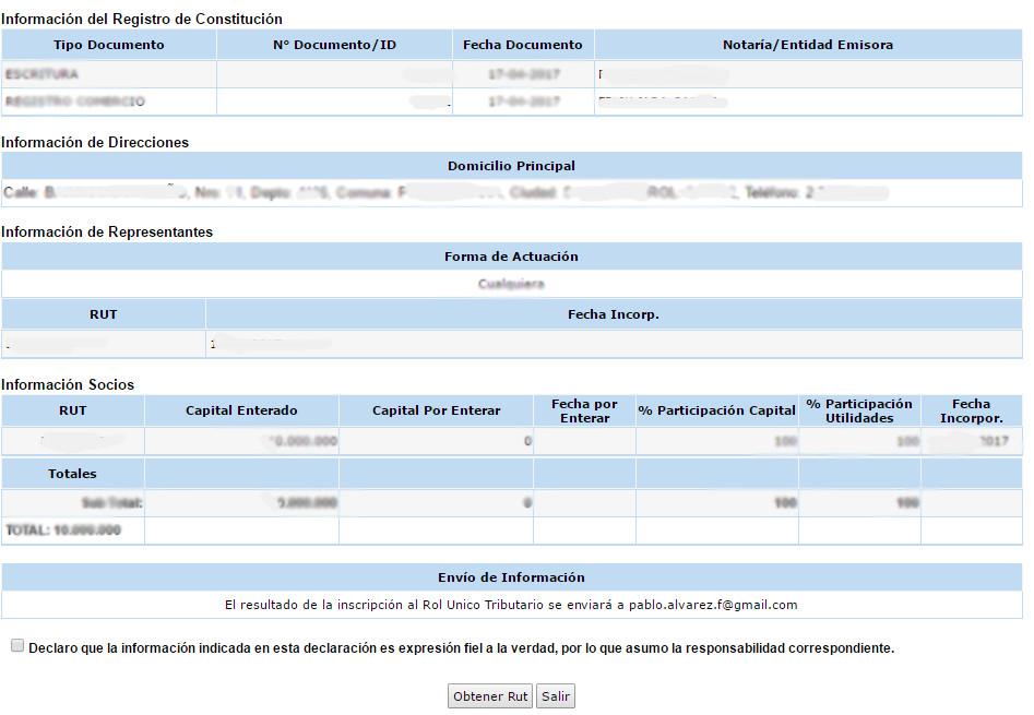 Rut de empresas en SII.CL 7.1