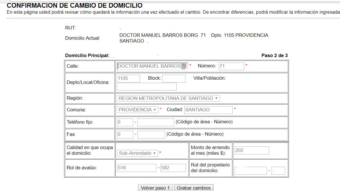 Modificar Domicilio en SII 6