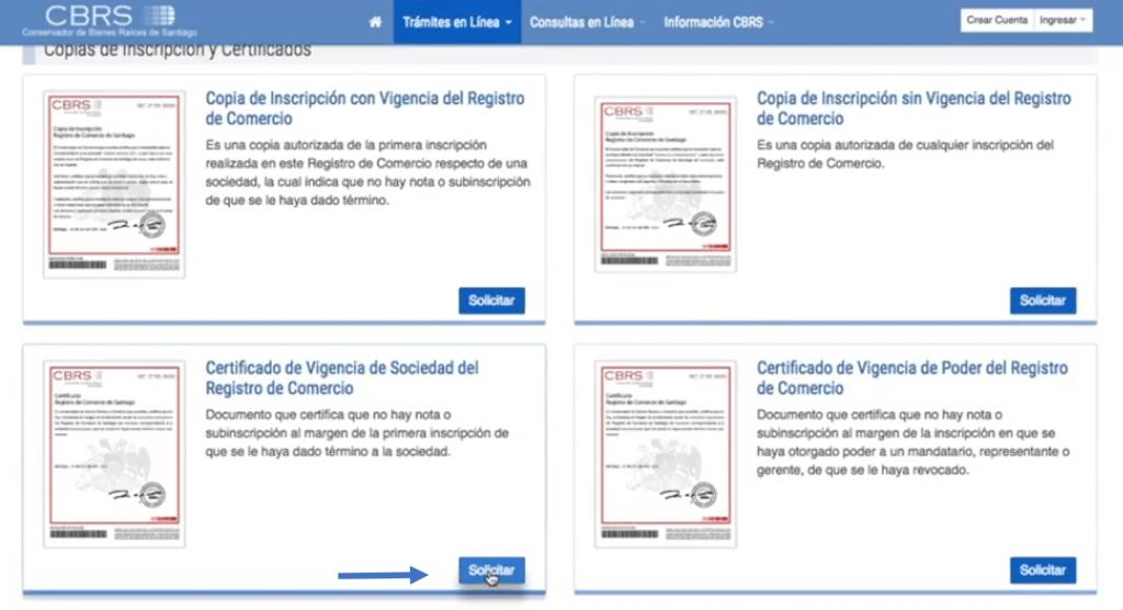 certificado de vigencia registro de comercio paso 2