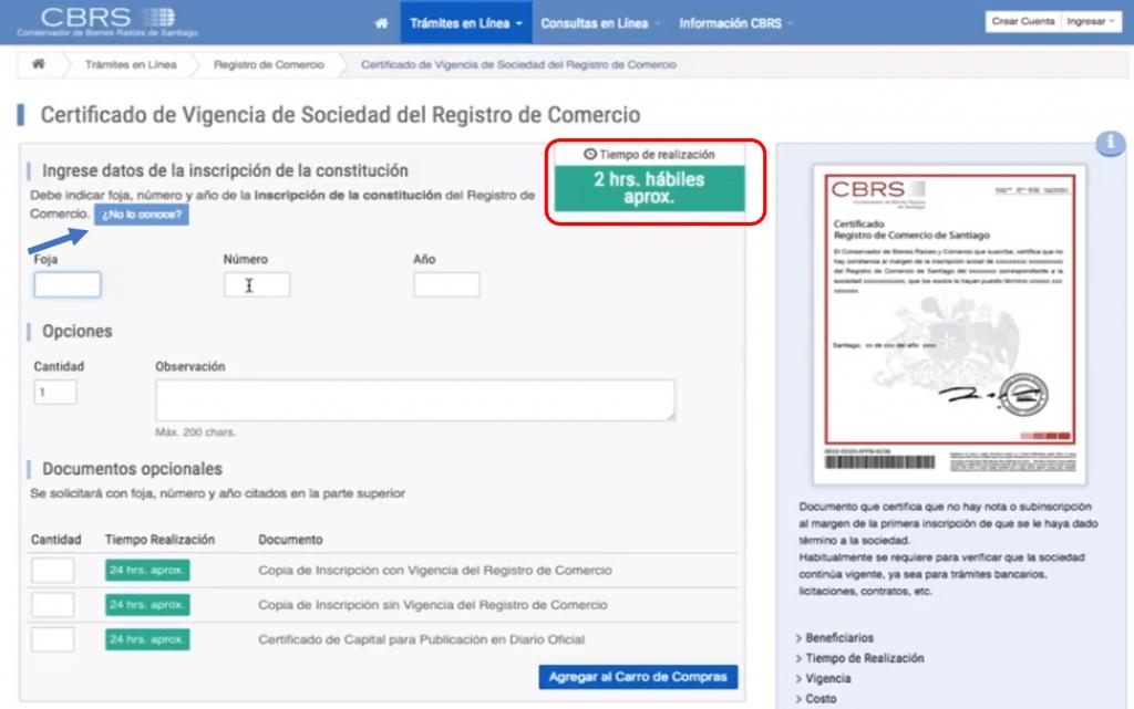 certificado de vigencia registro de comercio paso 3